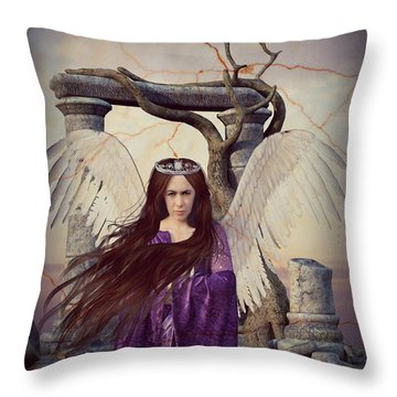 Angelica - The Messenger Throw Pillow by Riana Van Staden