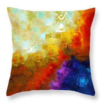 Angels Among Us - Emotive Spiritual Healing Art Throw Pillow