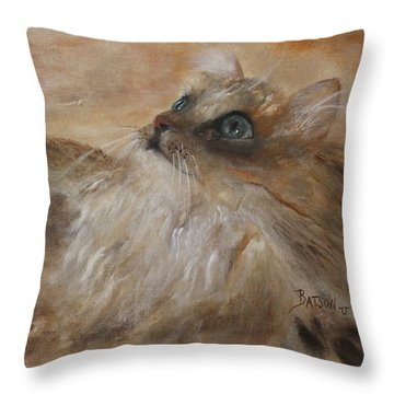 Throw Pillow featuring the painting Watching A Butterfly by Barbie Batson