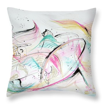 Throw Pillow featuring the painting Angels Arriving by Asha Carolyn Young