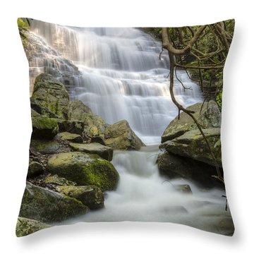 Angels At Benton Waterfall Throw Pillow by Debra and Dave Vanderlaan