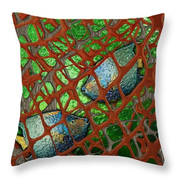 Angels Caught In An Emerald Pool Throw Pillow