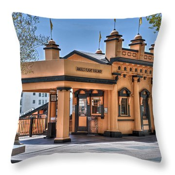 Angels Flight Landmark Funicular Railway Bunker Hill Throw Pillow by David Zanzinger