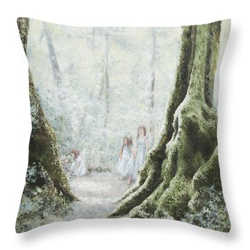 Angels In The Mist Throw Pillow