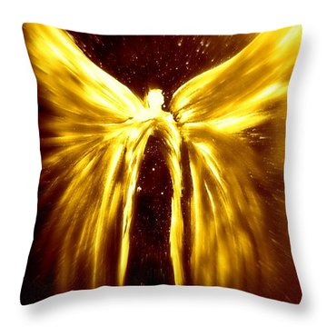 Angels Of The Golden Light Anscension Throw Pillow