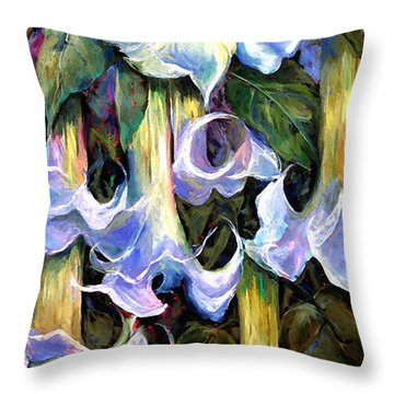 Angel's Trumpets - Floral Art By Betty Cummings Throw Pillow by Sharon Cummings