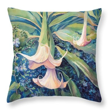 Angels Trumpets II Throw Pillow