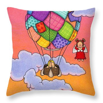 Angels With Hot Air Balloon Throw Pillow