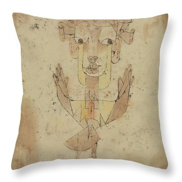 Throw Pillow featuring the painting Angelus Novus by Paul Klee