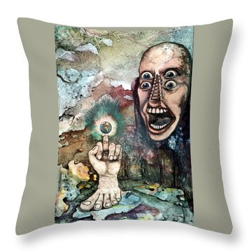 Throw Pillow featuring the painting Anger Of Archon by Mikhail Savchenko