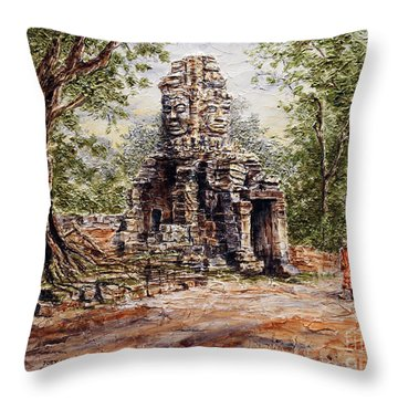 Angkor Temple Gate Throw Pillow