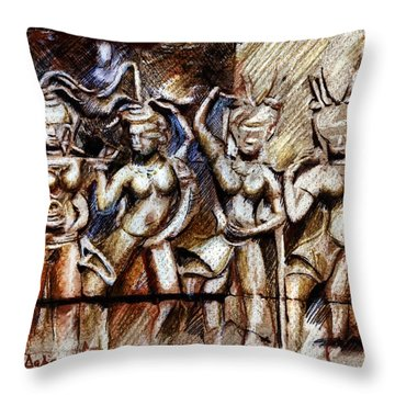 Angkor Wat - Apsara Throw Pillow by Daliana Pacuraru