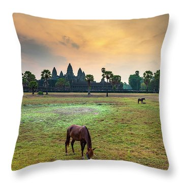 Angkor Wat At Sunrise, Siem Reap Throw Pillow