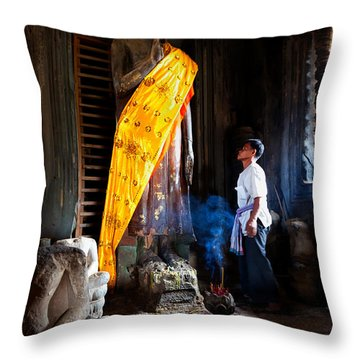 Angkor Wat Devotee Lights Incense In Buddha Temple Throw Pillow
