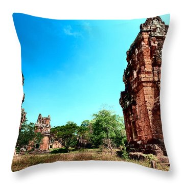 Angkor Wat Ruins Throw Pillow