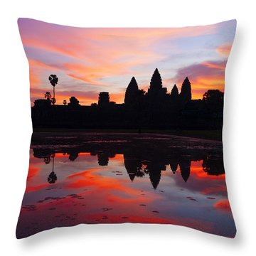 Angkor Wat Sunrise Throw Pillow by Alexey Stiop