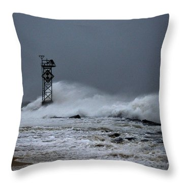 Throw Pillow featuring the photograph Angry Ocean In Ocean City by Bill Swartwout