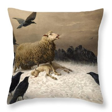 Throw Pillow featuring the painting Anguish by August Friedrich Schenck