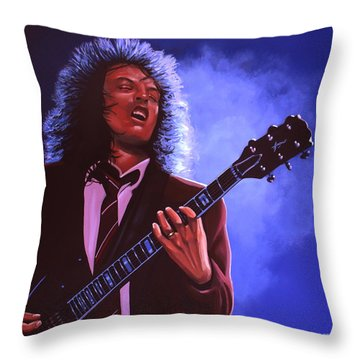 Angus Young Of Ac / Dc Throw Pillow