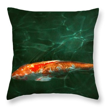 Animal - Fish - Koi - Another Fish Story Throw Pillow by Mike Savad