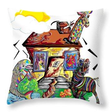Animal House Throw Pillow by Eloise Schneider