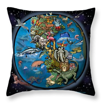 Throw Pillow featuring the digital art Animal Planet by Kevin Middleton