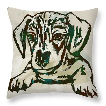 Animal Pop Art Etching Poster - Dog - 4 Throw Pillow