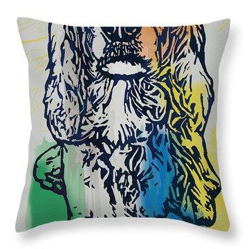 Animal Pop Art Etching Poster - Dog - 8 Throw Pillow