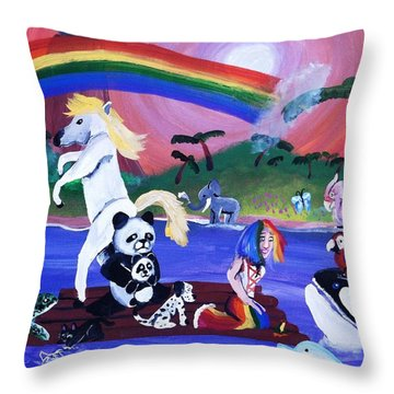 Throw Pillow featuring the painting Animal Raft by Artists With Autism Inc