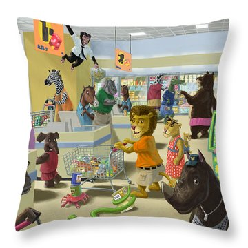 Animal Supermarket Throw Pillow