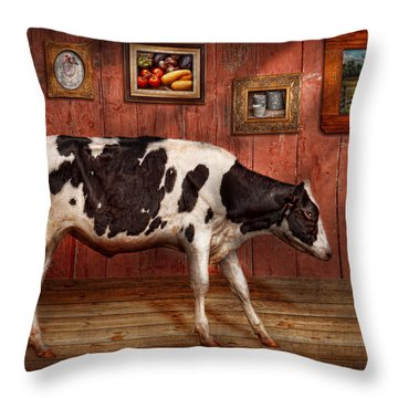 Animal - The Cow Throw Pillow by Mike Savad