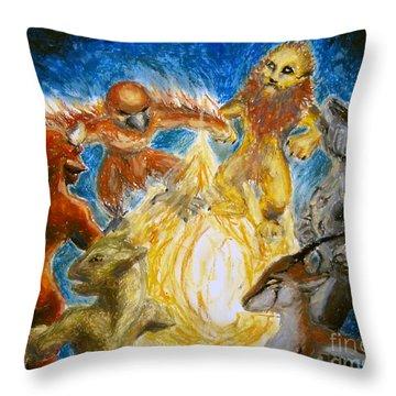 Animal Totem Dancers - Transformed Throw Pillow