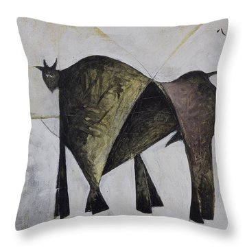 Animalia Walking Bull Throw Pillow