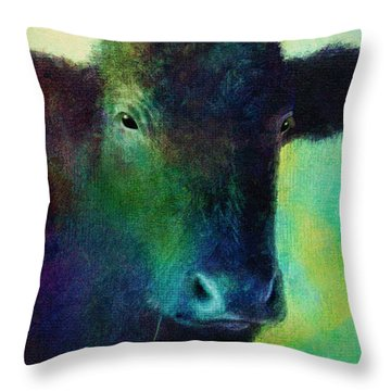 animals - cows- Black Cow Throw Pillow by Ann Powell
