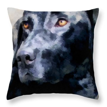 animals - dogs - Black Lab Throw Pillow by Ann Powell