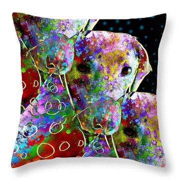 animals - dogs- Colorful Dog Collage Throw Pillow by Ann Powell