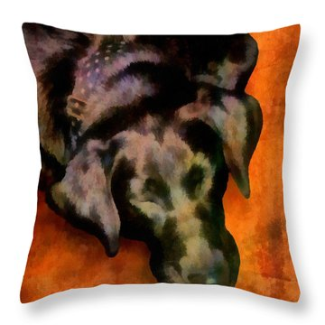 animals- dogs Sleeping Dog Throw Pillow by Ann Powell
