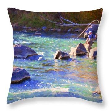 Animas River Fly Fishing Throw Pillow