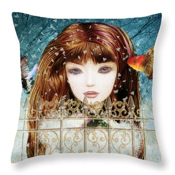 Throw Pillow featuring the digital art Aniolina Felicslawa by Barbara Orenya