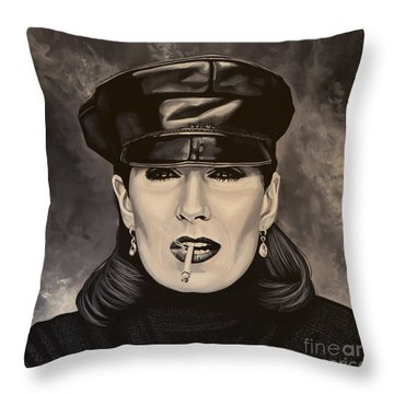 Anjelica Huston Throw Pillow by Paul Meijering