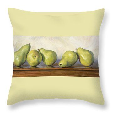 Anjou Pears Throw Pillow by Lucie Bilodeau
