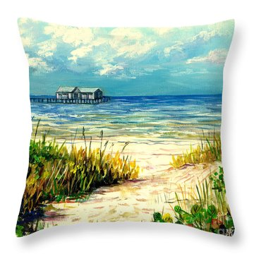 Anna Maria Island Pier Throw Pillow by Lou Ann Bagnall