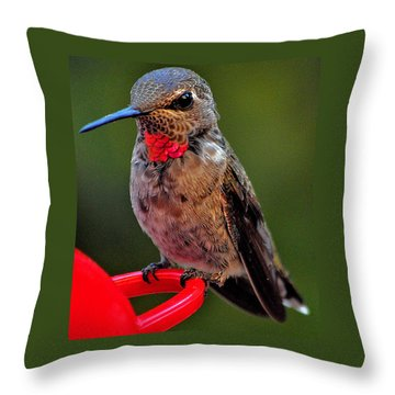 Anna's With Red Necklace Throw Pillow