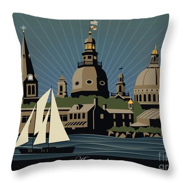 Annapolis Steeples And Cupolas Serenity With Border Throw Pillow