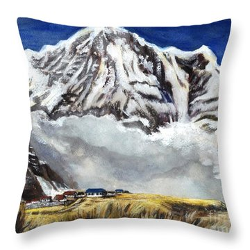 Annapurna L Mountain In Nepal Throw Pillow