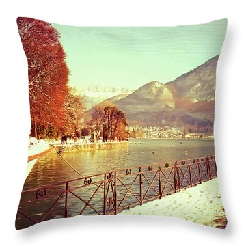 Annecy Golden Fairytale. France Throw Pillow by Jenny Rainbow