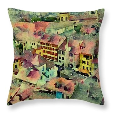 Throw Pillow featuring the photograph Annecy Rain by Susan Maxwell Schmidt