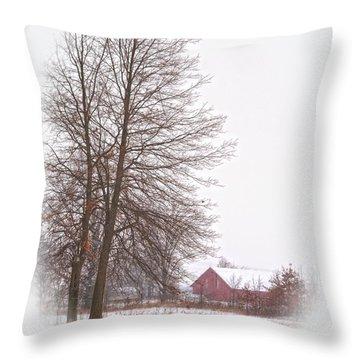 Annie's Barn Throw Pillow by Pamela Baker