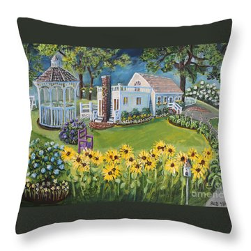 Throw Pillow featuring the painting Annie's Summer Cottage by Rita Brown