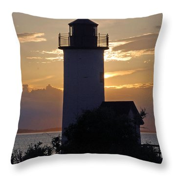 Annisquam Lighthouse Sunset Throw Pillow